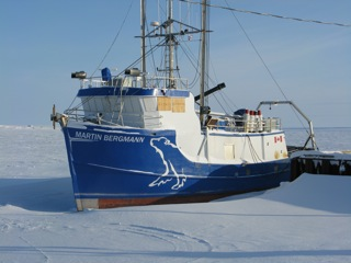 A research support vessel frozen in the ice for the winter.