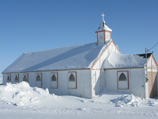 Snow covered church in Cambridge Bay