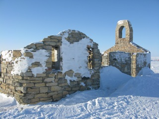 The first Catholic Church built in Cambridge Bay - from rocks and mortar.  The mortar was made with a mixture of clay and seal oil blubber.