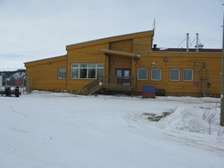 The modern airport terminal building at Old Crow, Yukon Territory.