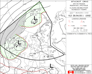 The Graphic Area Forecast (GFA) still depicting bad weather at the North Pole on 28 April.